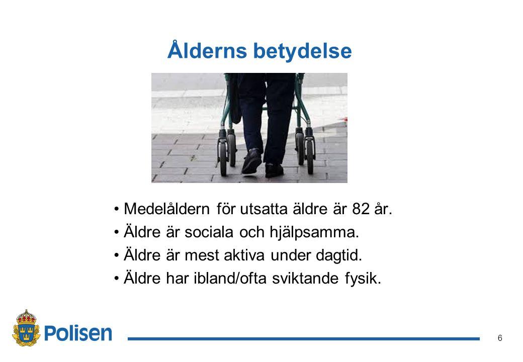 Ålderns betydelse Medelåldern för utsatta äldre är 82 år.