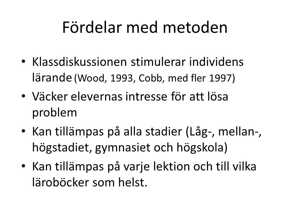 Fördelar med metoden Klassdiskussionen stimulerar individens lärande (Wood, 1993, Cobb, med fler 1997)