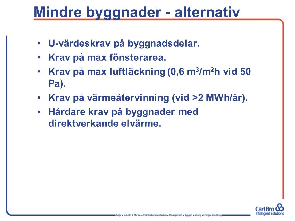 Mindre byggnader - alternativ