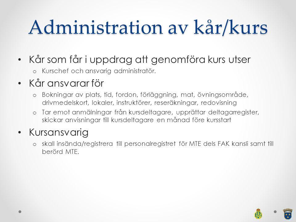 Administration av kår/kurs