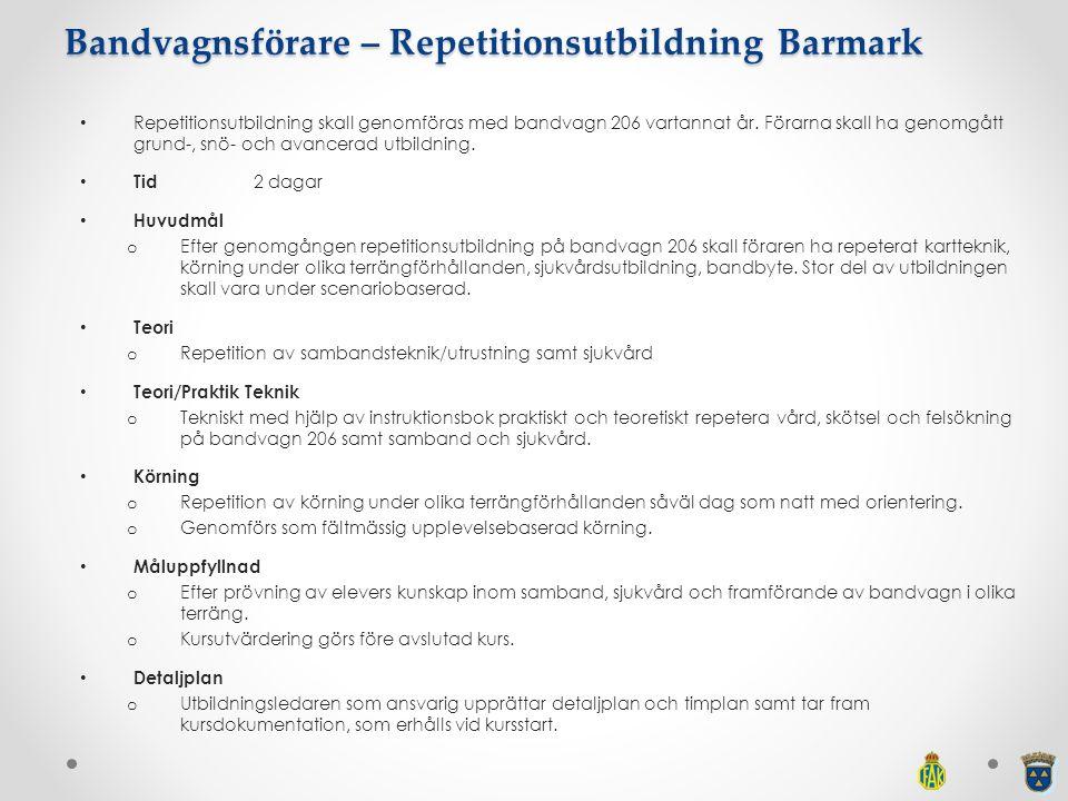 Bandvagnsförare – Repetitionsutbildning Barmark