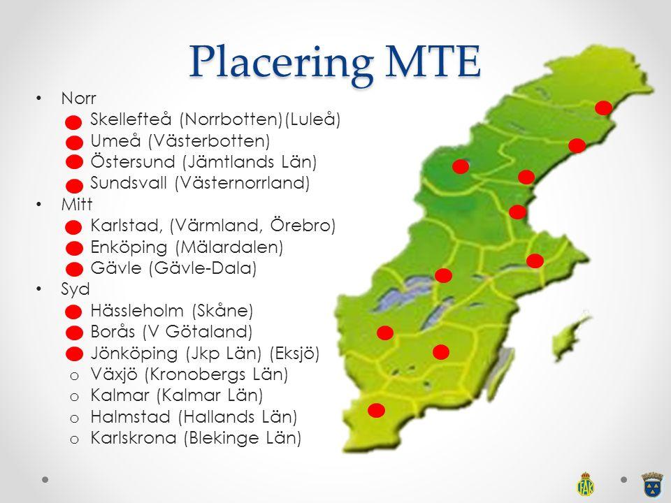 Placering MTE Norr Skellefteå (Norrbotten)(Luleå) Umeå (Västerbotten)