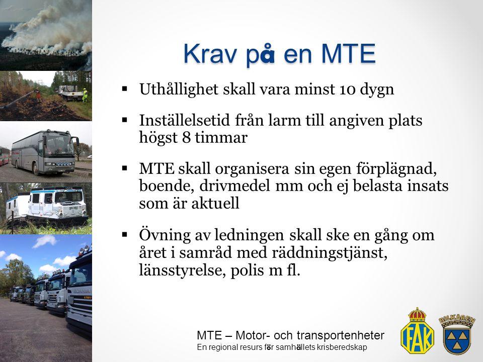 Krav på en MTE Uthållighet skall vara minst 10 dygn