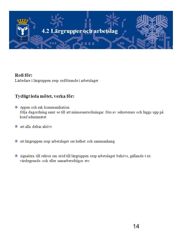 Utvecklingsgruppen 4.2 Lärgrupper och arbetslag Roll för: