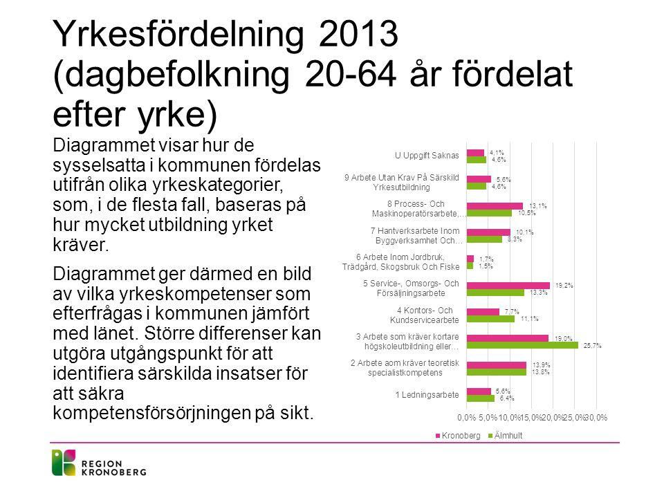 Yrkesfördelning 2013 (dagbefolkning 20-64 år fördelat efter yrke)