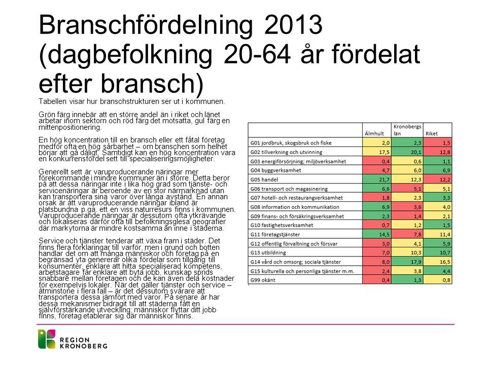 Branschfördelning 2013 (dagbefolkning 20-64 år fördelat efter bransch)