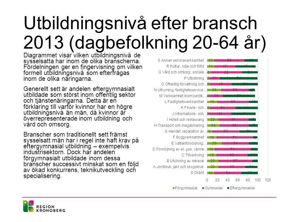 Utbildningsnivå efter bransch 2013 (dagbefolkning 20-64 år)