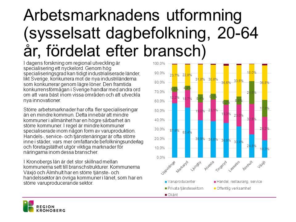 Arbetsmarknadens utformning (sysselsatt dagbefolkning, 20-64 år, fördelat efter bransch)