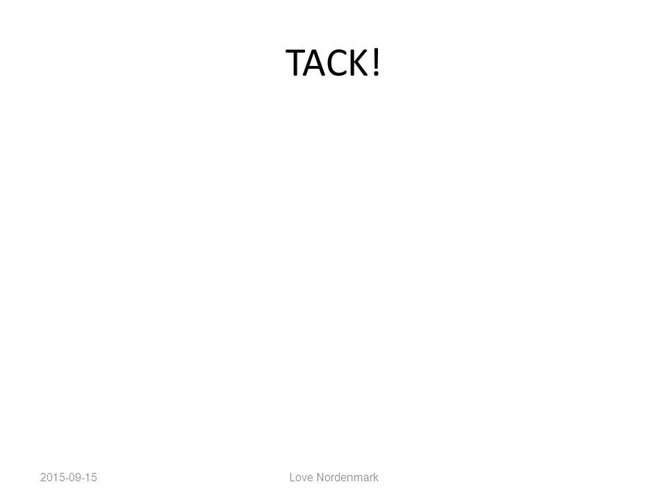 TACK! 2015-09-15 Love Nordenmark