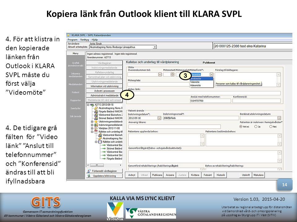 Kopiera länk från Outlook klient till KLARA SVPL