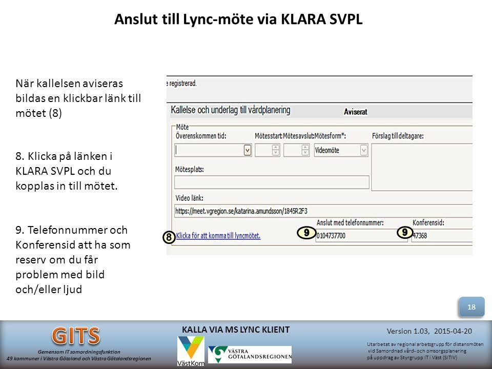 Anslut till Lync-möte via KLARA SVPL