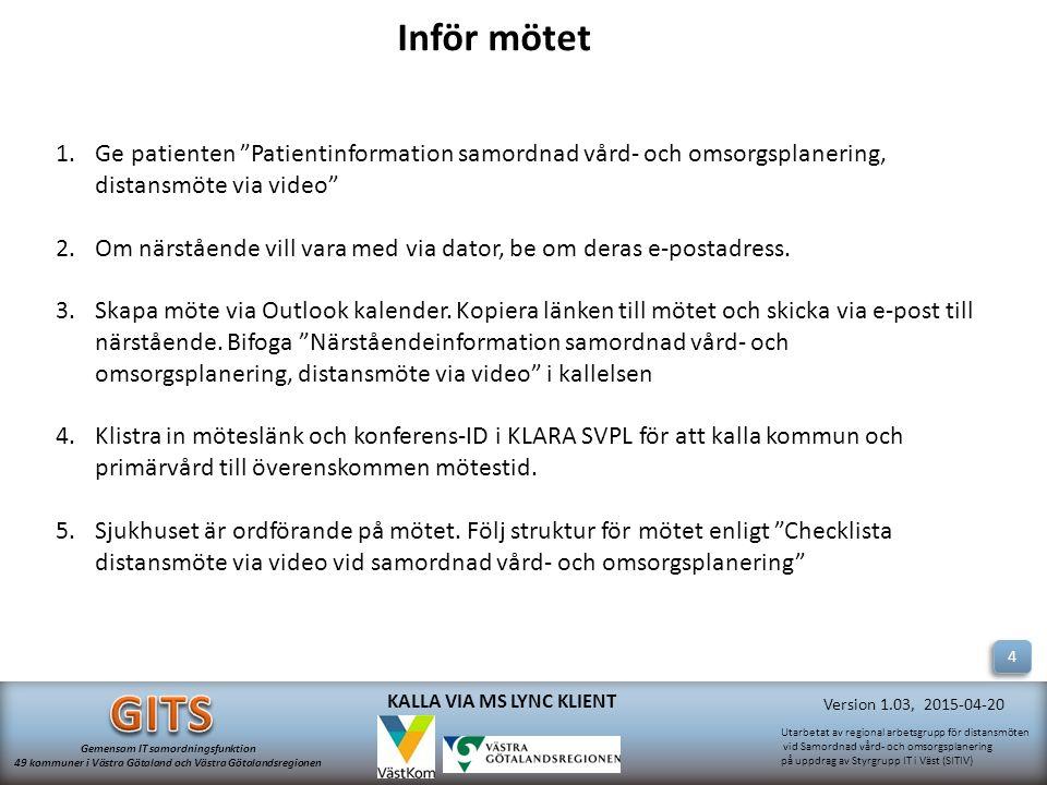 Inför mötet Ge patienten Patientinformation samordnad vård- och omsorgsplanering, distansmöte via video