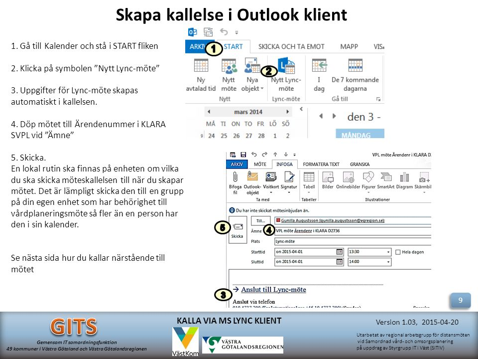 Skapa kallelse i Outlook klient