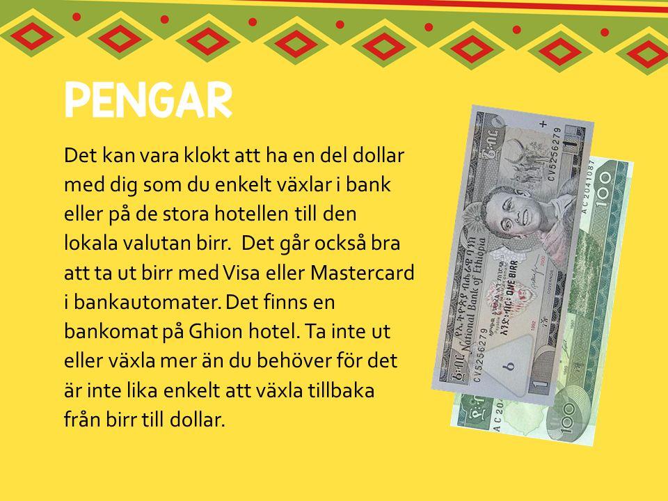 Det kan vara klokt att ha en del dollar med dig som du enkelt växlar i bank eller på de stora hotellen till den lokala valutan birr.