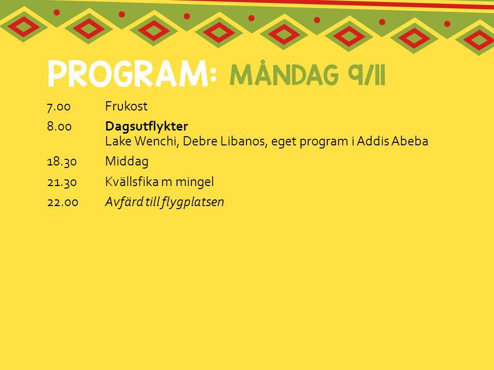 7.00 Frukost 8.00 Dagsutflykter Lake Wenchi, Debre Libanos, eget program i Addis Abeba. 18.30 Middag.