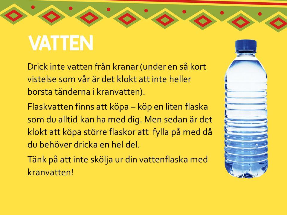 Drick inte vatten från kranar (under en så kort vistelse som vår är det klokt att inte heller borsta tänderna i kranvatten).