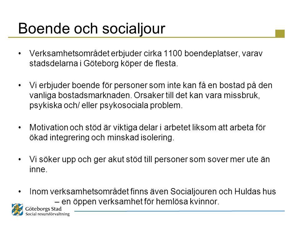 Boende och socialjour Verksamhetsområdet erbjuder cirka 1100 boendeplatser, varav stadsdelarna i Göteborg köper de flesta.