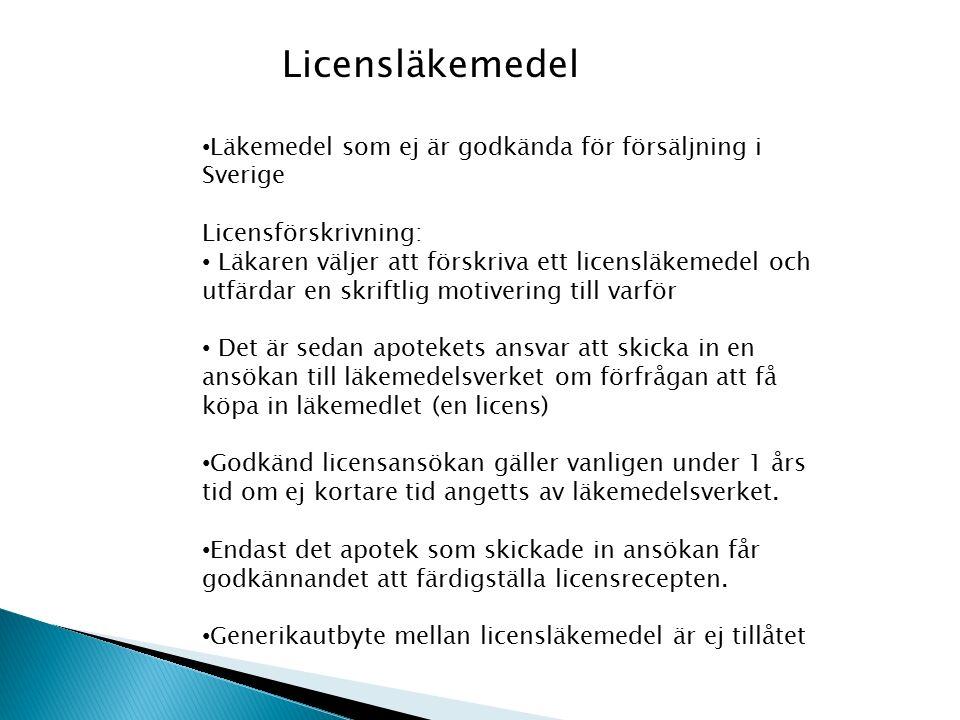Licensläkemedel Läkemedel som ej är godkända för försäljning i Sverige