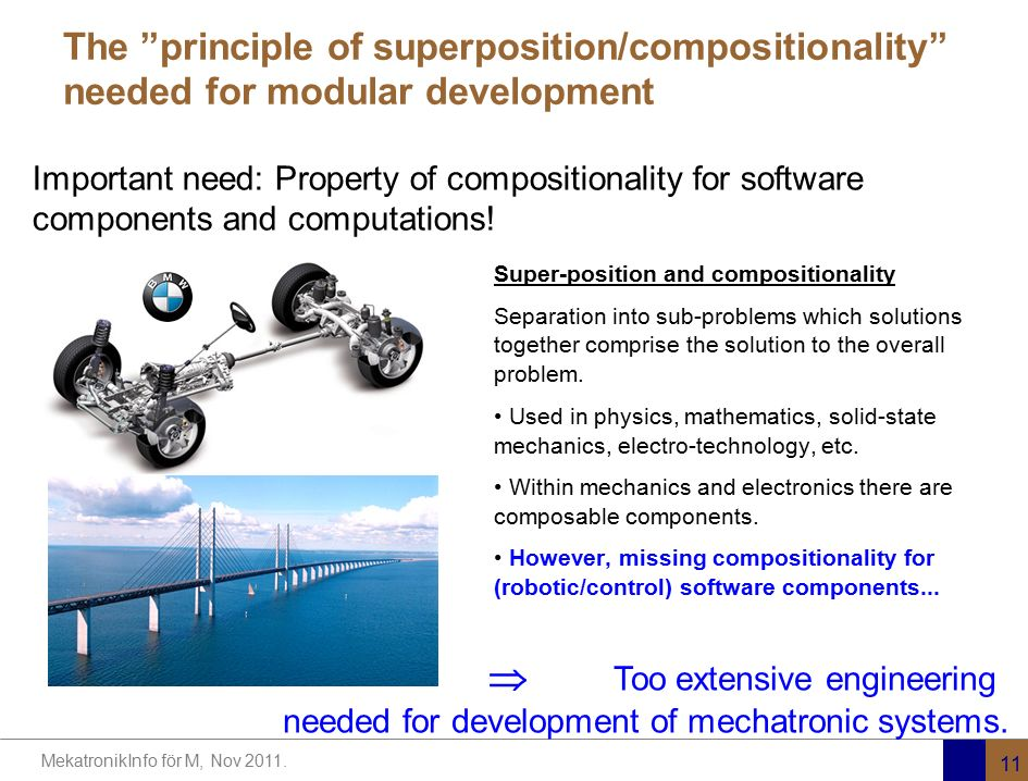 The principle of superposition/compositionality needed for modular development