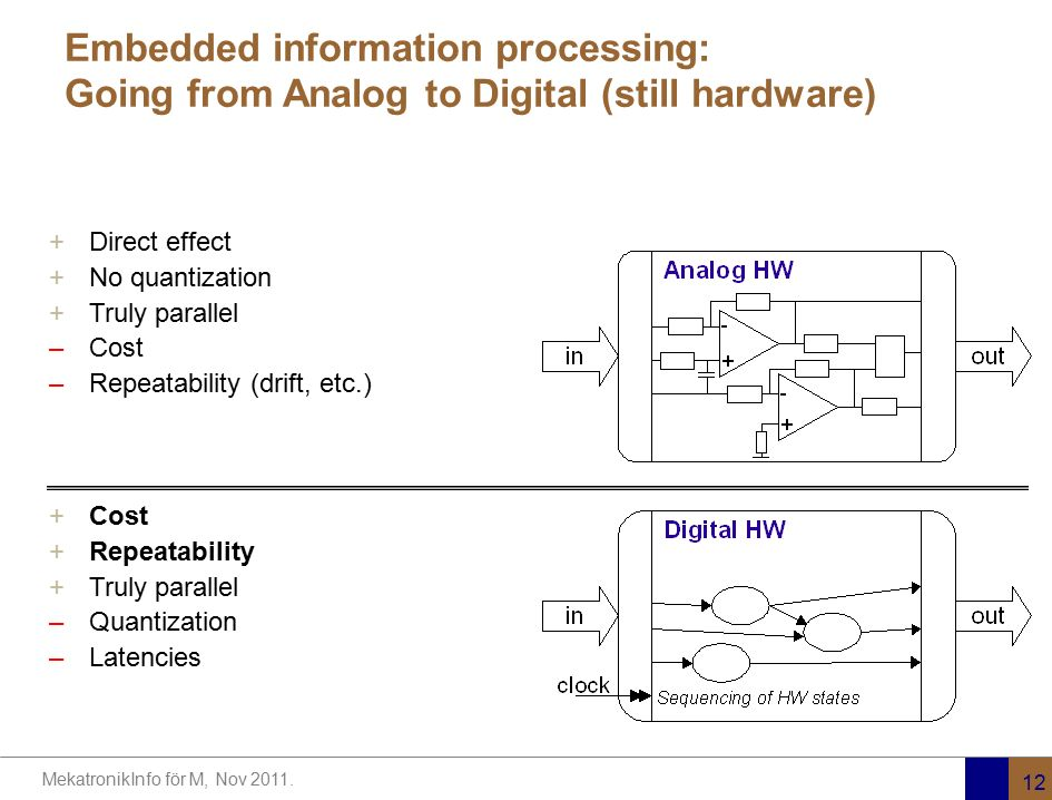 Embedded information processing: Going from Analog to Digital (still hardware)