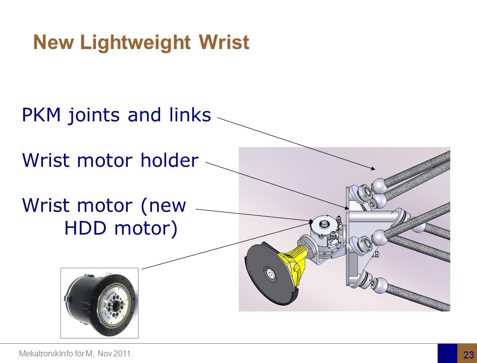 New Lightweight Wrist PKM joints and links Wrist motor holder