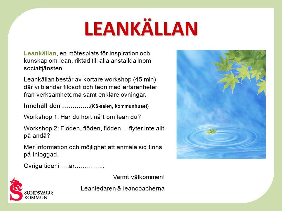 LEANKÄLLAN Leankällan, en mötesplats för inspiration och kunskap om lean, riktad till alla anställda inom socialtjänsten.