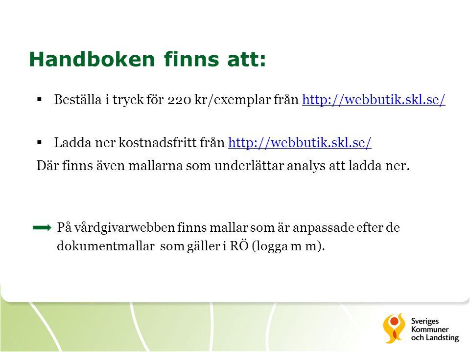 Handboken finns att: Beställa i tryck för 220 kr/exemplar från http://webbutik.skl.se/ Ladda ner kostnadsfritt från http://webbutik.skl.se/