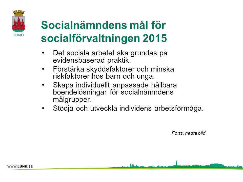 Socialnämndens mål för socialförvaltningen 2015