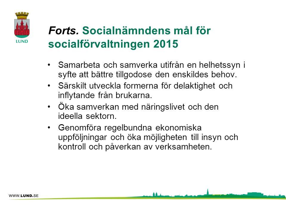 Forts. Socialnämndens mål för socialförvaltningen 2015