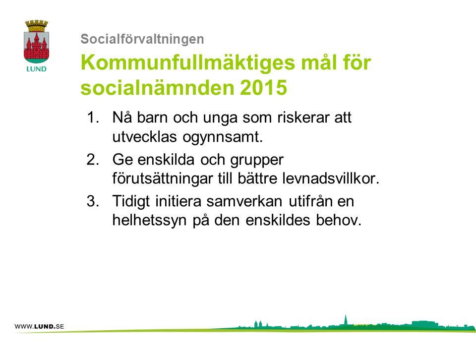 Socialförvaltningen Kommunfullmäktiges mål för socialnämnden 2015