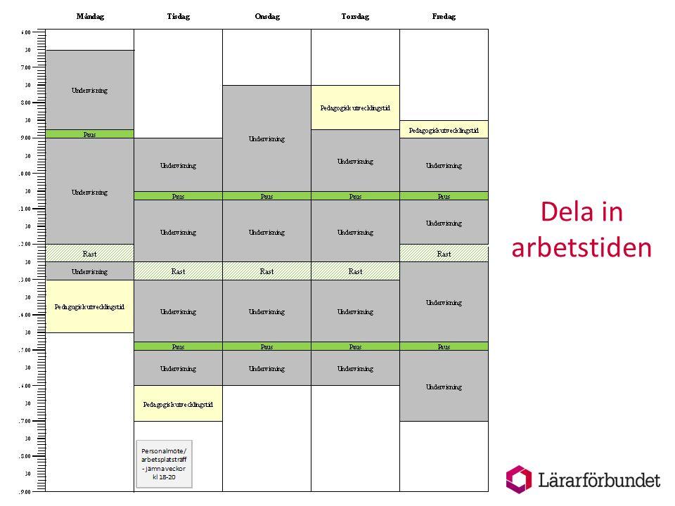 Dela in arbetstiden Utgå från planeringen en vanlig vecka. Har du olika lång arbetstid olika veckor får du ha det i minne under arbetet.