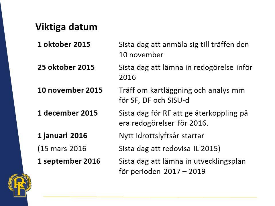 Viktiga datum 1 oktober 2015 Sista dag att anmäla sig till träffen den 10 november.