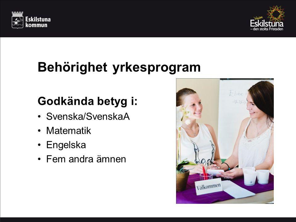 Behörighet yrkesprogram