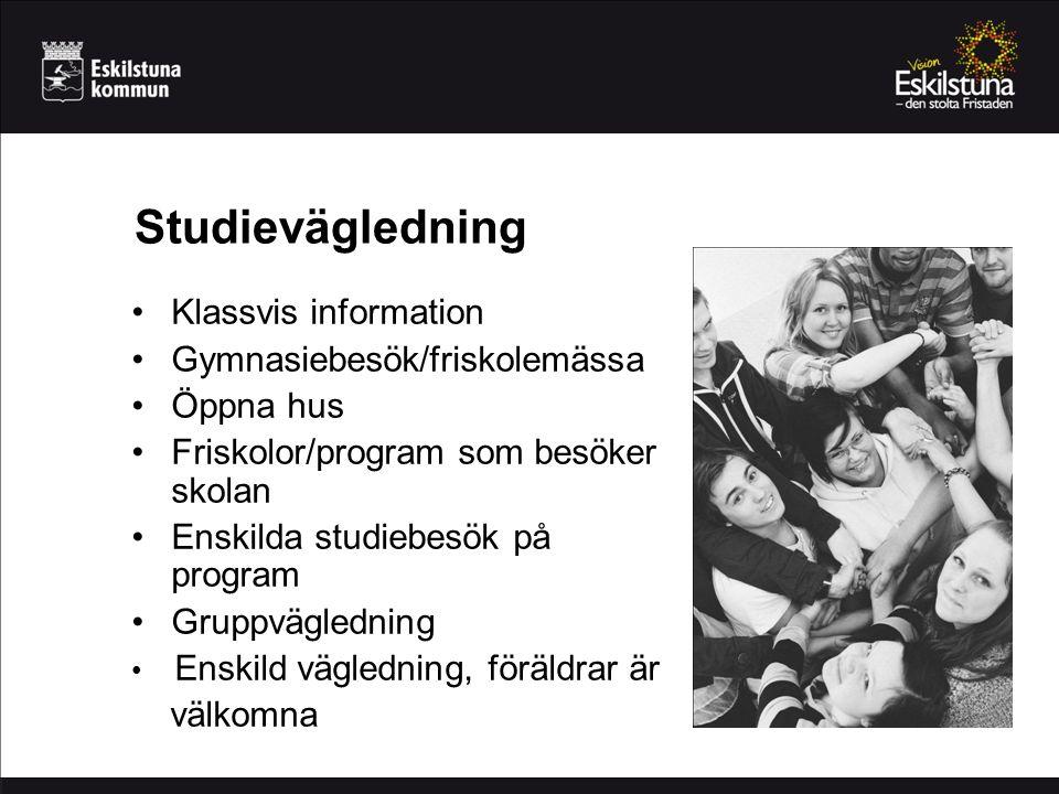 Studievägledning Klassvis information Gymnasiebesök/friskolemässa