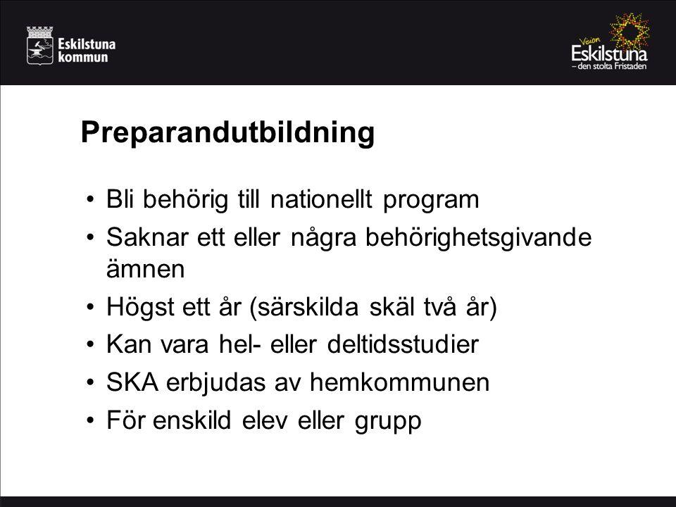 Preparandutbildning Bli behörig till nationellt program