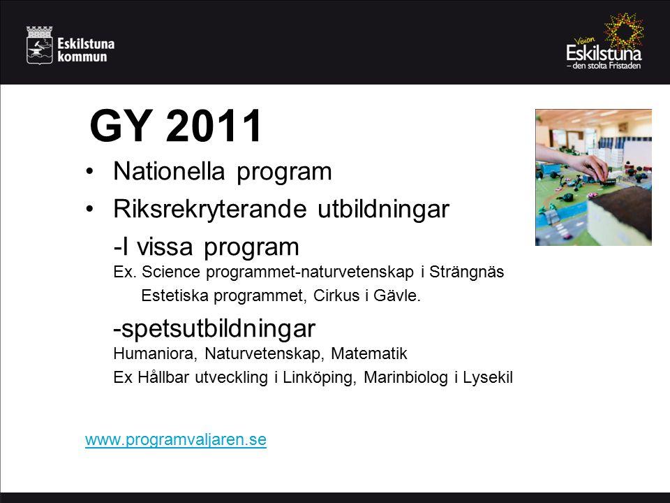 GY 2011 Nationella program Riksrekryterande utbildningar