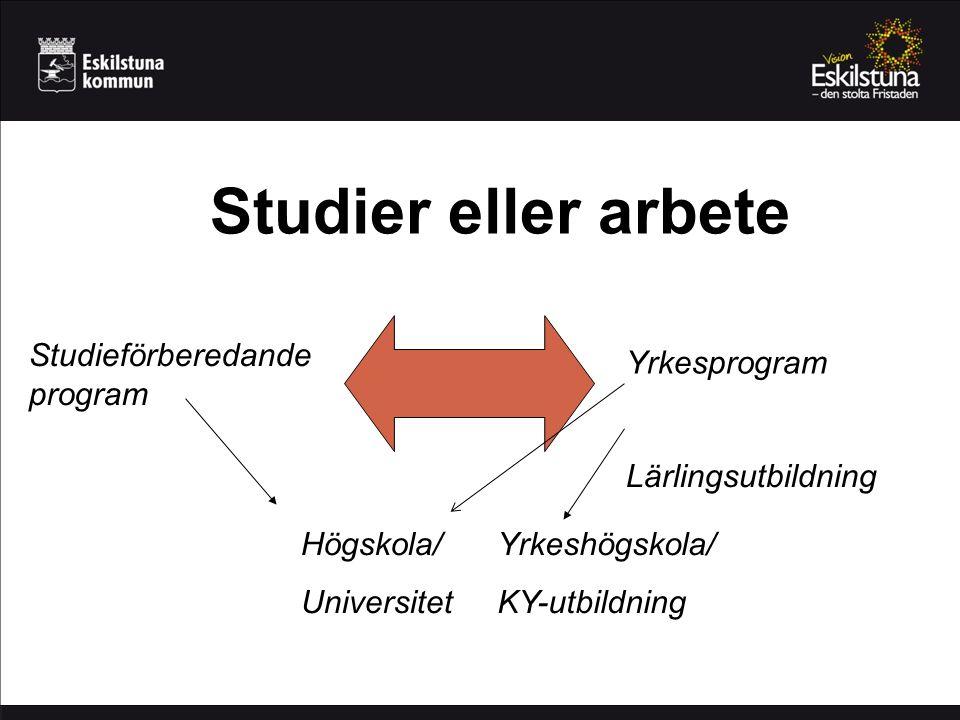 Studier eller arbete Studieförberedande program Yrkesprogram