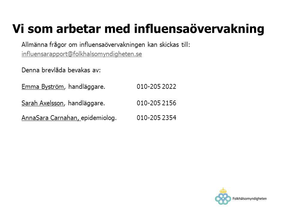 Vi som arbetar med influensaövervakning