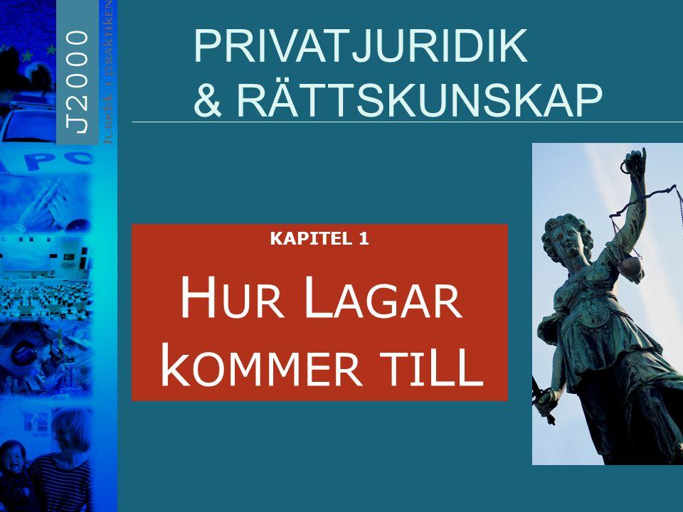 HUR LAGAR kOMMER TILL PRIVATJURIDIK & RÄTTSKUNSKAP KAPITEL 1