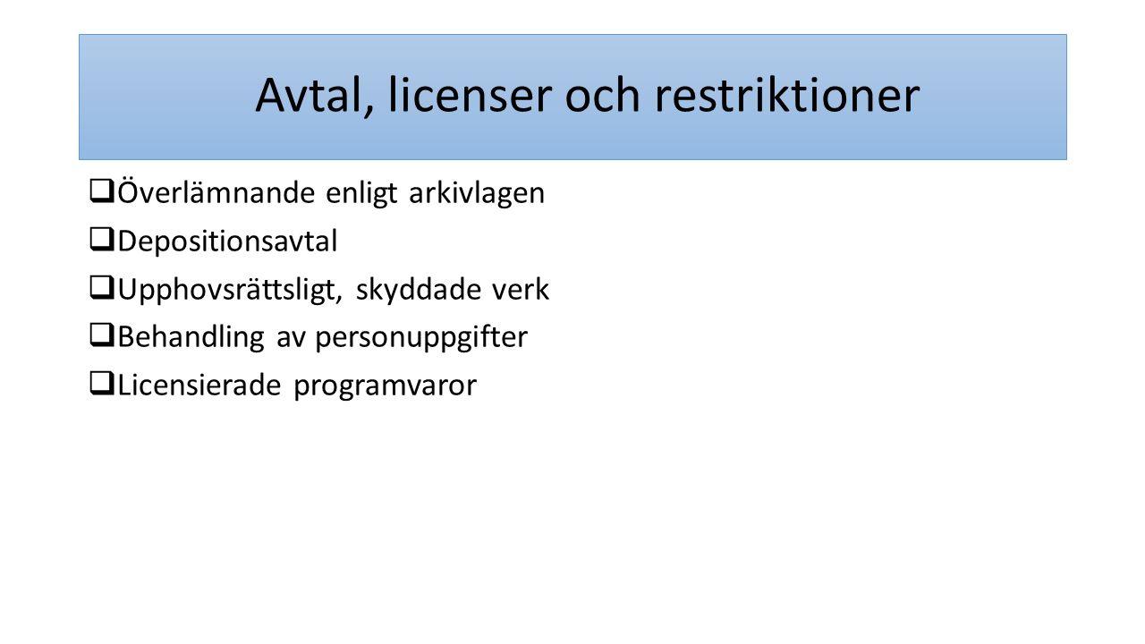 Avtal, licenser och restriktioner
