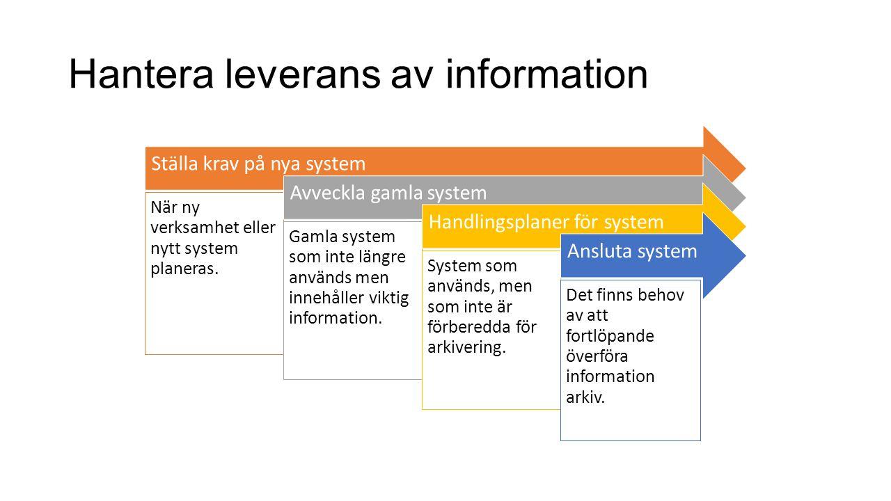 Hantera leverans av information