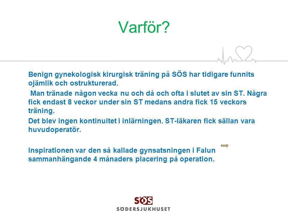Varför Benign gynekologisk kirurgisk träning på SÖS har tidigare funnits ojämlik och ostrukturerad.