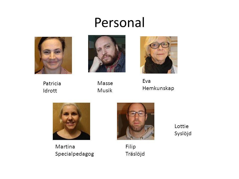 Personal Eva Hemkunskap Patricia Idrott Masse Musik Lottie Syslöjd