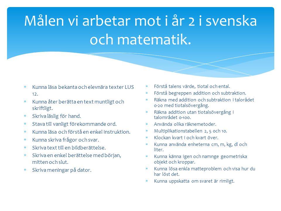 Målen vi arbetar mot i år 2 i svenska och matematik.