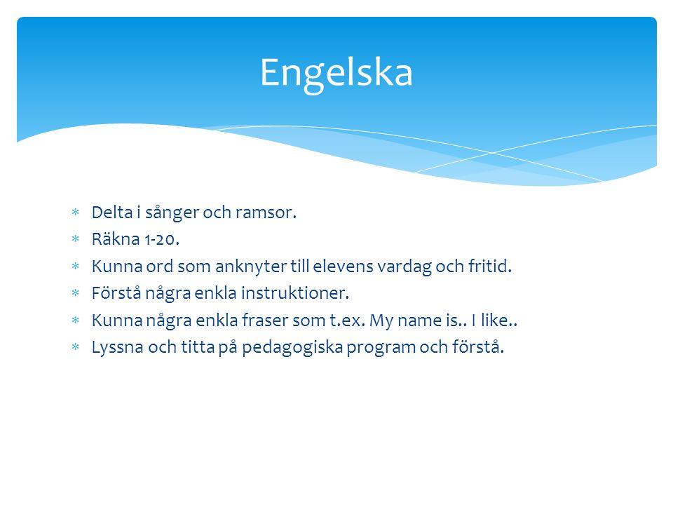Engelska Delta i sånger och ramsor. Räkna 1-20.