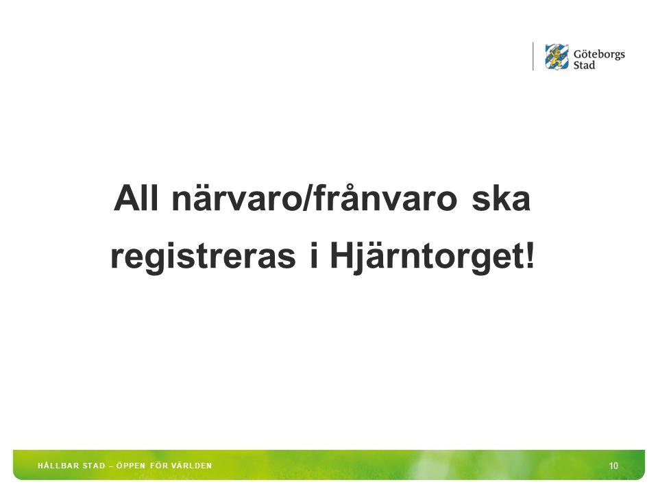 All närvaro/frånvaro ska registreras i Hjärntorget!