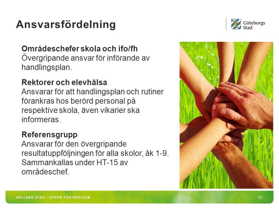 Ansvarsfördelning Områdeschefer skola och ifo/fh Övergripande ansvar för införande av handlingsplan.
