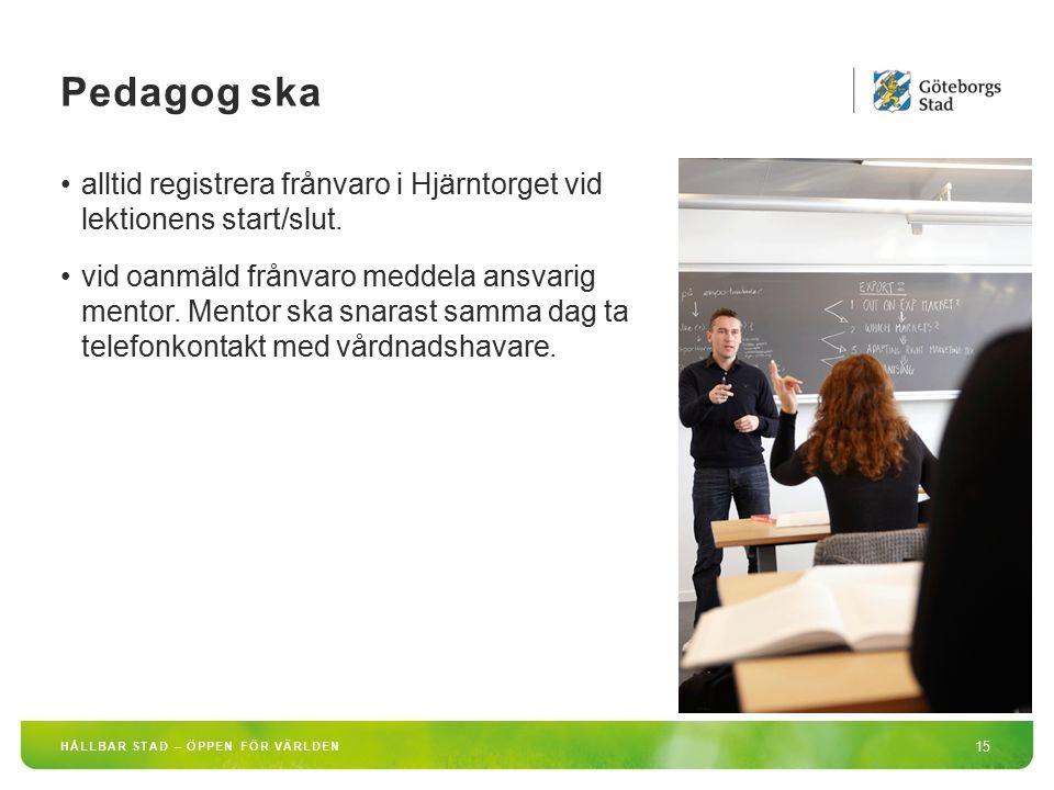 Pedagog ska alltid registrera frånvaro i Hjärntorget vid lektionens start/slut.