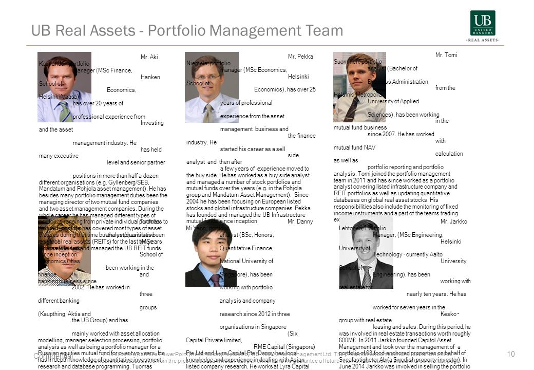 UB Real Assets - Portfolio Management Team