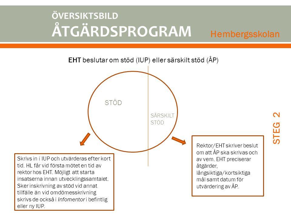 EHT beslutar om stöd (IUP) eller särskilt stöd (ÅP)